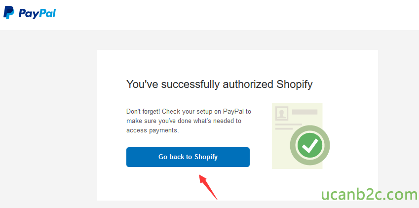 PayPal You've successfully authorized Shopify Dont forget! Check %ßur setup on PayPal to make sure youve done what's needed to access payments. Go back to Shopify