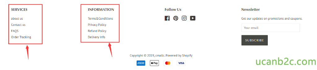SERVICES about us Contact us FAOS Order Tracking INFORMATION Terms&Conditions Privacy Policy Refund Policy Delivery Info Follow Us Copyright @ 2019, cmallc. Powered by Shopify i Pay VISA Newsletter Get our updates on promotions and coupons. Your email SUBSCRIBE