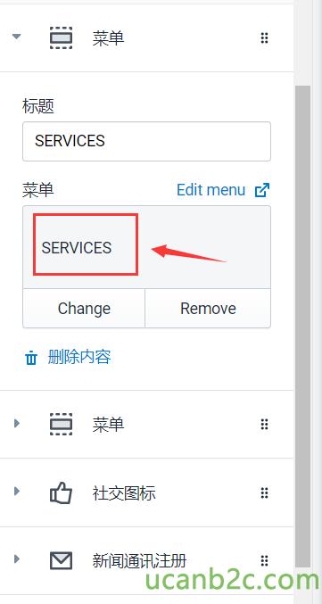 SERVICES SERVICES Change Edit menu cå Remove
